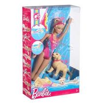 Boneca Barbie Quero Ser Nadadora C/ Cachorrinho - Mattel !!!