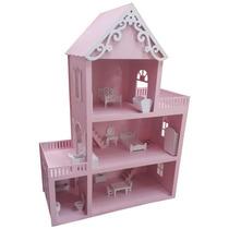 Casinha De Bonecas Em Mdf Pintado - Com 10 Móveis - Barbie