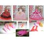 3 Vestidos Boneca Barbie Com Acessórios-24 Sapatos-10 Cabide
