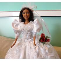Oportunidade! Barbie Noiva Negra Com Véu, Renda E Pérolas