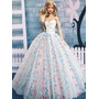 Vestido De Festa Gala Florido Branco P/ Barbie Ou Royalty