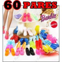 Lote C/ 60 Pares Diferentes De Sapatinho P/ Barbie * Sapato