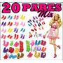 Kit Lote C/ 20 Pares De Sapatos P/ Boneca Barbie * Sapatinho