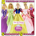 5 Vestidos Barbie Princesa Disney + 5 Coroas + 5 Sapatinhos