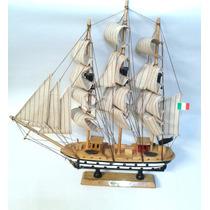 Barco Decorativo Em Madeira Artesanal - 42 Cm X 39 Cm