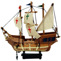 Fragata Pequena 3 Mastros Com Bandeiras - Madeira