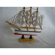 Barco Caravela Veleiro Madeira 11 Tecido Decorativa Presente