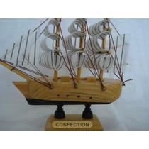 Barco Caravela Veleiro Madeira 4 Tecido Decorativa Presente