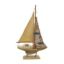 Miniatura De Barco Antigo Pequeno Em Madeira