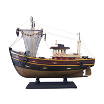 Miniatura Barco Pesqueiro Grande Rústico Vermelho E Marrom