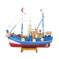 Miniatura Barco Pesqueiro Médio Azul E Vermelho Em Madeira