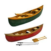 Conjunto Miniaturas De Canoas Vermelho/verde Em Madeira