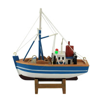 Miniatura Barco De Pesca Stratus Azul/branco Em Madeira