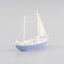 Miniatura De Barco Veleiro Médio - Azul/branco - Em Madeira