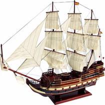Navio Barco Fragata San Felipe Caravela 100cm Em Madeira