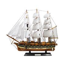 Miniatura Fragata Grande Marrom E Preta Em Madeira