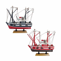 Miniatura Barco Pesca Carmen 2 Kit 2 Modelos Madeira 24cm