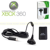 Kit Bateria Recarregável Cabo Carregador Controle Xbox360