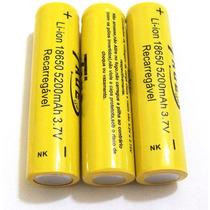 Kit 3 Baterias Taue 18650 5200mah 3.7v Li-ion Recarregável