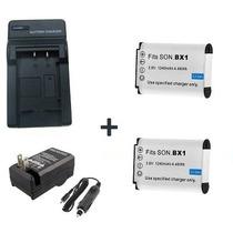Kit 2 Baterias Np-bx1 + Carregador Câmera Digital Sony Hx400