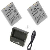 Kit 2 Baterias + Carregador En-el5 Enel5 Nikon P510 P520