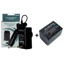 Kit Bateria Fv70 + Carregador Np-fv70 Sony Handycam Dcr-sx45