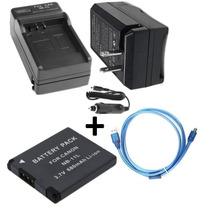 Kit Bateria Nb-11l + Carregador + Cabo Usb P/ Canon Elph 135