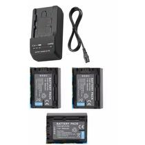 Kit 3 Baterias Np-fv50 + Um Carregador P/ Sony Dcr-sr68 Sr88