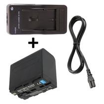 Kit Bateria Np-f960 + Carregador P/ Sony Hvr-hd1000 Pd170