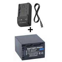 Kit Bateria Np-fv100 + Carregador P/ Sony Nex-vg20 Nex-vg30