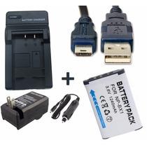 Kit Bateria Np-bx1 + Carregador + Cabo Usb P/ Sony Dsc-rx100