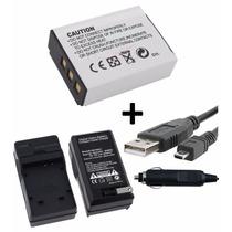 Kit Bateria Np-85 + Carregador + Cabo Usb Para Fuji Sl300