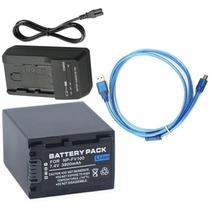 Kit Bateria Np-fv100 + Carregador + Cabo Usb P Sony Dcr-sx22