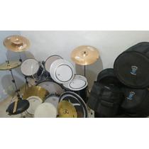 Bateria Rmv + 2 Kits De Pratos + Cases + Kit De Peles
