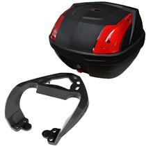 Kit Yamaha Crypton Suporte Bagageiro Scam + Baú 33l Tm Tech