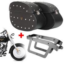 Kit Viagem Harley Davidson Fat Boy Alforge Couro + Afastador