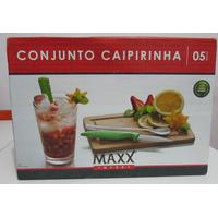 Caipirinha Kit 5 Peças:c/tábua, Faca, Colher, Copo E Socador