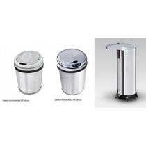 Kit Lixeiras Inox Automáticas: 03 E 06 Litros + Saboneteira