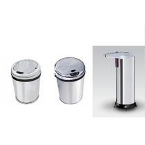 Kit Lixeiras Inox Automáticas: 03 E 09 Litros + Saboneteira