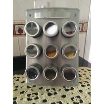 Porta Temperos Em Inox 9 Potes Magnético C/ Suporte Import