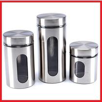 Conjunto De 3 Potes Com Visor - Mantimentos - Inox E Vidro