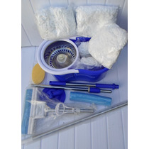 Kit Spin Mop Inox 360° 04 Refis + Rodo Mágico 28cm And Go
