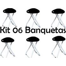 Kit 06 Banqueta Banco Dobrável Banquinho Camping Cadeira