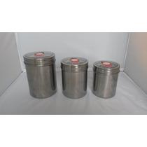 Pote Aço Inox A Vácuo Hermético Com 3 Peças
