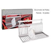 Escorredor Inox De Parede Com Barra 16 Pratos - Completo