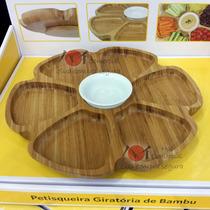 Petisqueira Giratória Em Bambu- Tigela Ceramica- Frete Justo