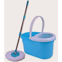 Balde Spin Mop P/ Limpeza C/ Esfregão Rotaciona 360º Azul Pl