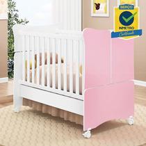 Berço Mini Cama Doce Magia Quarto Infantil Bebê Branco Rosa