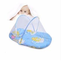 Cama Berço Bebê Portátil Com Mosqueteiro Baby Happy Cor Azul