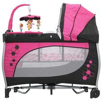 Berço Cercado - Balanco - Portatil - Rosa - Baby Style